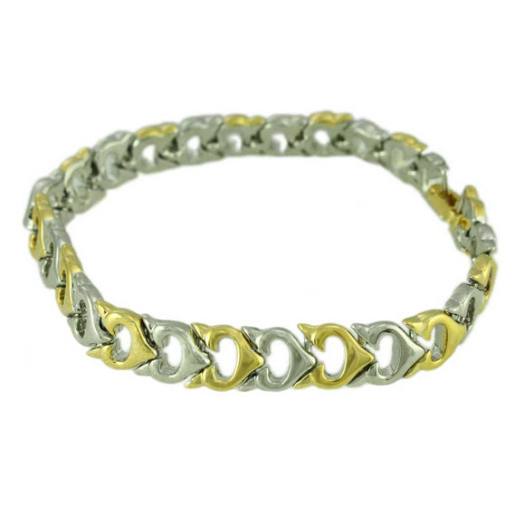 Gold and Silver Open Hearts Link Bracelet - Lilylin Designs