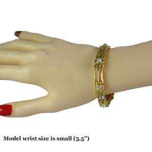 Model with Gold and Silver-tone Bars with Crystal Accents Link Bracelet - Lilylin Designs