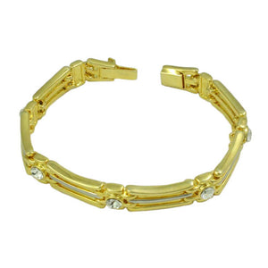 Gold and Silver-tone Bars with Crystal Accents Link Bracelet (open) - Lilylin Designs