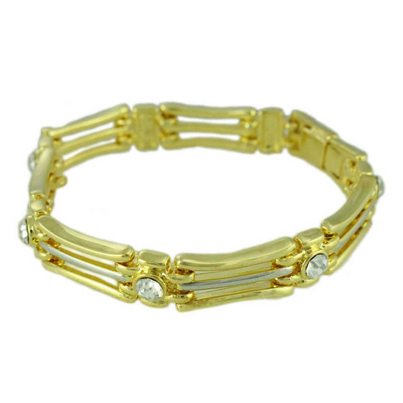 Gold and Silver-tone Bars with Crystal Accents Link Bracelet - Lilylin Designs