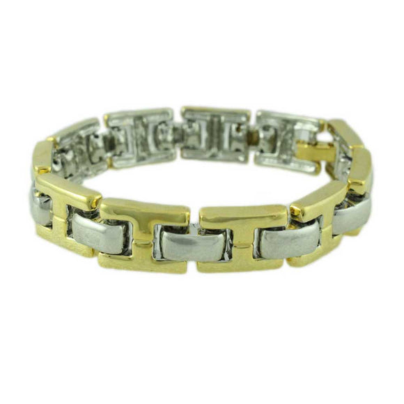 Gold-tone with Silver-Tone Connectors Link Bracelet - Lilylin Designs