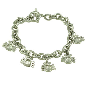 Silver-tone Links with Enamel Crabs Charm Bracelet (back) - Lilylin Designs
