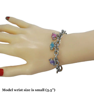 Model with Silver-tone Links with Enamel Crabs Charm Bracelet - Lilylin Designs