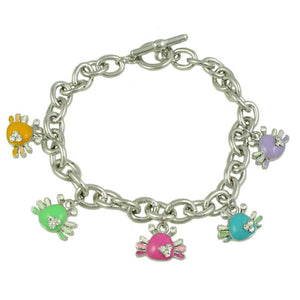 Silver-tone Links with Enamel Crabs Charm Bracelet - Lilylin Designs