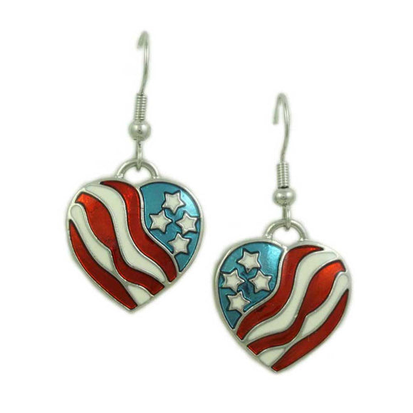Enamel Patriotic Heart Pierced Earring - Lilylin Designs