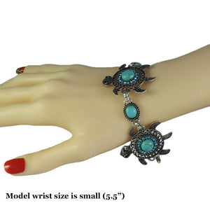 Model with 3 Turquoise and Aqua Crystals Turtles Bracelet - Lilylin Designs