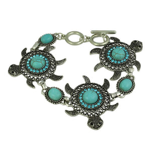 3 Turquoise and Aqua Crystals Turtles Bracelet - Lilylin Designs
