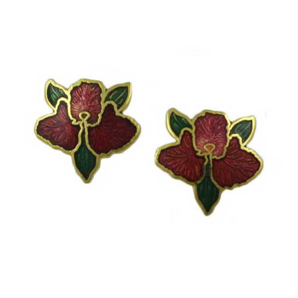 Red Orchid with Green Leaves Cloisonne Pierced Earring