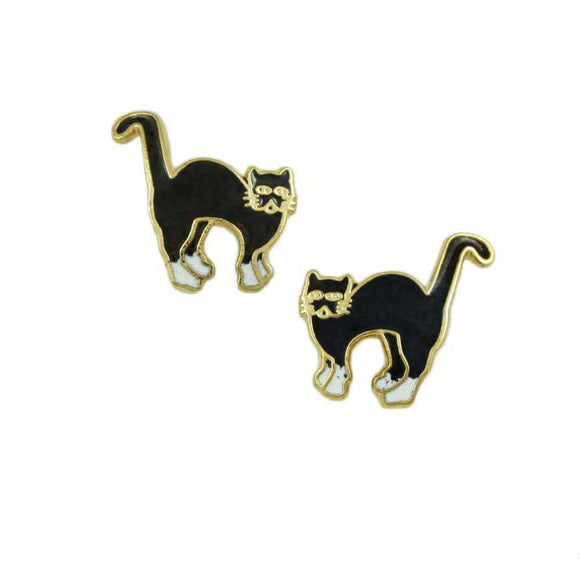 Cloisonne Black and White Scaredy Cat Halloween Pierced Earring - Lilylin Designs