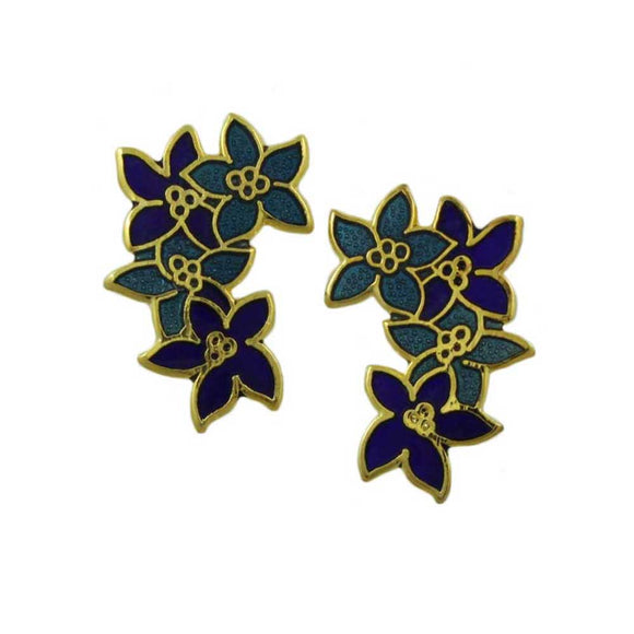Dark and Light Blue Cloisonne Flowers Pierced Earring