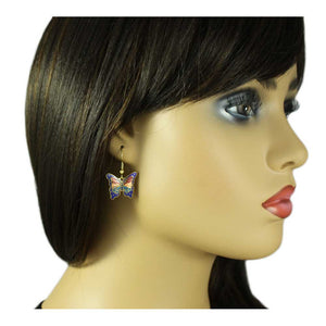 Model with Blue, Red, and Peach Cloisonne Butterfly Pierced Earring - Lilylin Designs