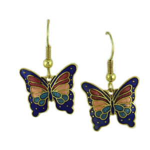 Blue, Red, and Peach Cloisonne Butterfly Pierced Earring - Lilylin Designs