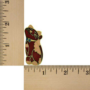 Red and Peach Cloisonne Smiling Cat Brooch Pin (size) - Lilylin Designs