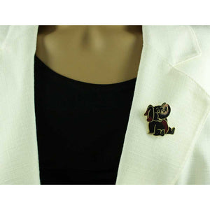 Model with Black, Red, and Peach Cloisonne Cute Elephant Brooch Pin - Lilylin Designs