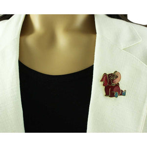 Model with Red, Peach and Teal Cloisonne Cute Elephant Brooch Pin - Lilylin Designs