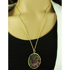 Red and Gray Hibiscus Cloisonne Necklace and Earring Jewelry Gift Set - CP90NBS