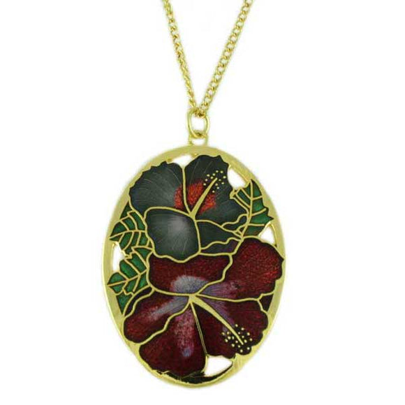 Chain with Cloisonne Hibiscus Pendant - Lilylin Designs