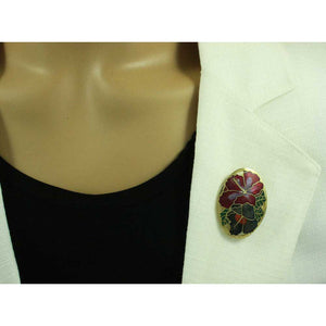 Model with Red and Gray Hibiscus Cloisonne Flower Brooch Pin - Lilylin Designs