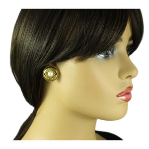 Model with Antique Gold Button with Heart Cutouts and Pearl Pierced Earring - Lilylin Designs