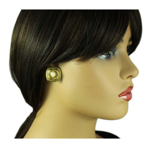 Model with Antique Gold Square with White Oval Pearl Pierced Earring - Lilylin Designs