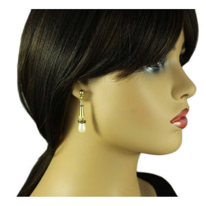 Model with Antique Gold Cone with White Teardrop Pearl Pierced Earring - Lilylin Designs