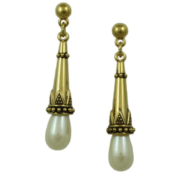 Cone with Teardrop Pearl Pierced Earring - Lilylin Designs