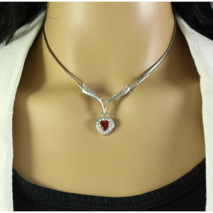 Model with Silver and Crystal V Shape Necklace with Red Crystal Dangling Heart - Lilylin Designs