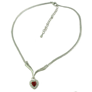 Silvertone Red Heart Crystal Necklace (whole) - Lilylin Designs