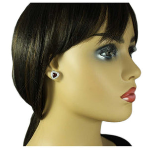 Model with Small Red Crystal Heart Surrounded by Clear Crystals Pierced Earring - Lilylin Designs