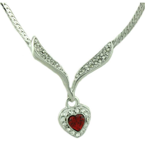 Silvertone Red Heart Crystal Necklace - Lilylin Designs
