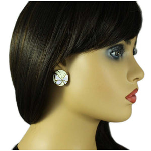Model with Cream Enamel Button with Light Purple Butterfly Pierced Earring - Lilylin Designs