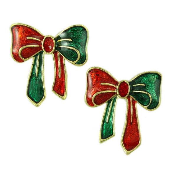 Red and Green Enamel Christmas Bow Pierced Earring - Lilylin Designs