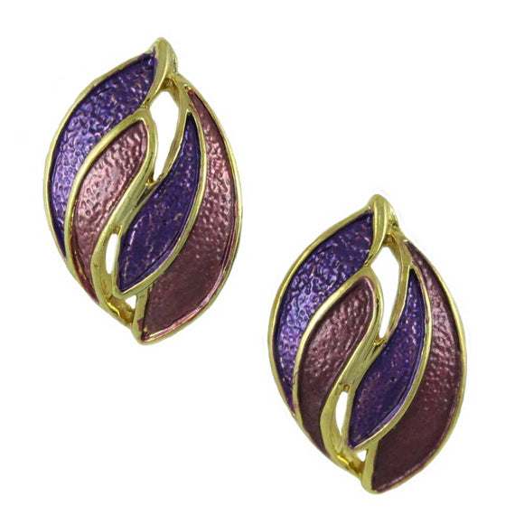 Light and Dark Purple Enamel Wave Pierced Earring - Lilylin Designs