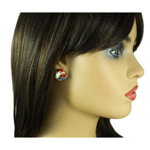 Model with Patriotic Red, White, and Blue Love Knot Pierced Earring - Lilylin Designs