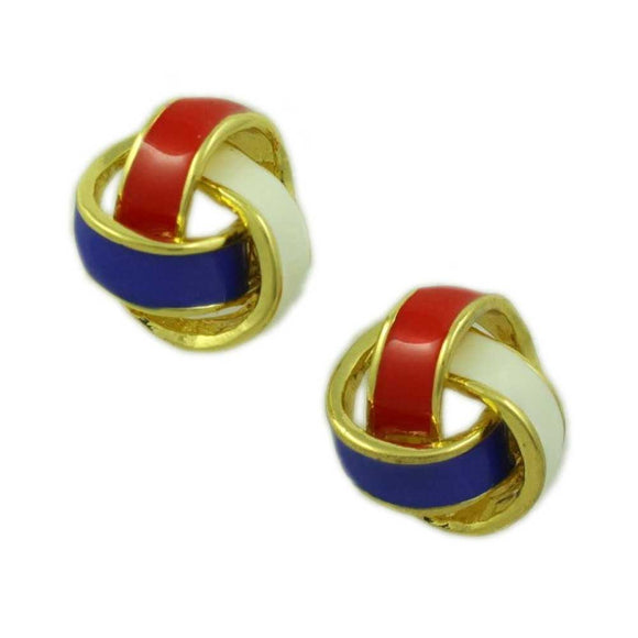 Patriotic Red, White, and Blue Love Knot Pierced Earring - Lilylin Designs