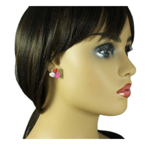 Model with Red, Light Pink, and Hot Pink Enamel Hearts Pierced Earring - Lilylin Designs