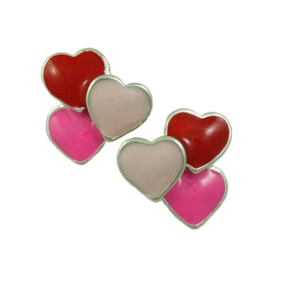 Red, Light Pink, and Hot Pink Enamel Hearts Pierced Earring - Lilylin Designs