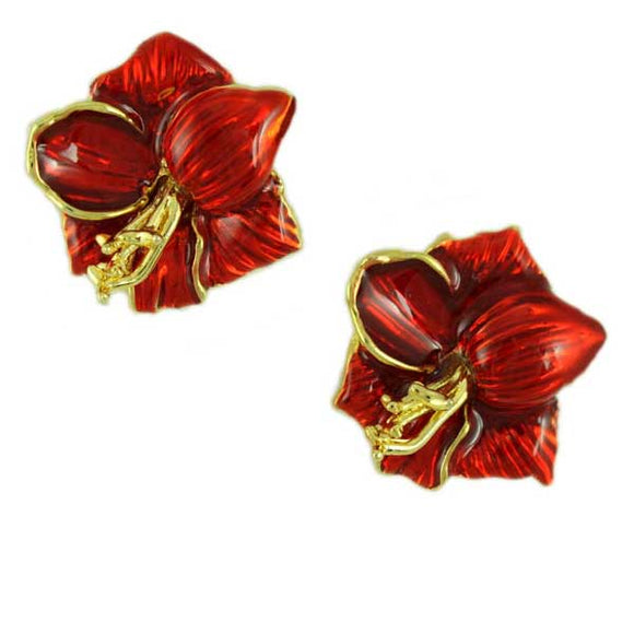 Red Enamel Christmas Amaryllis Clip Earring - Lilylin Designs