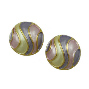 Pink, Cream, and Purple Pastel Enamel Striped Dome Pierced Earring - Lilylin Designs