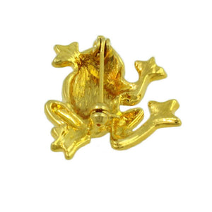 Gold-plated Frog with Green Enamel Back and Eyes Brooch Pin (back) - Lilylin Designs