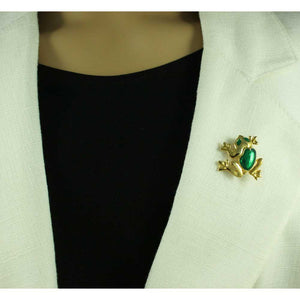Model with Gold-plated Frog with Green Enamel Back and Eyes Brooch Pin - Lilylin Designs