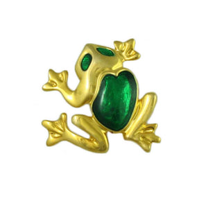 Gold-plated Frog with Green Enamel Back and Eyes Brooch Pin - Lilylin Designs