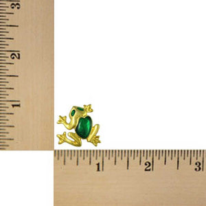 Gold-plated Frog with Green Enamel Back and Eyes Brooch Pin (sized) - Lilylin Designs