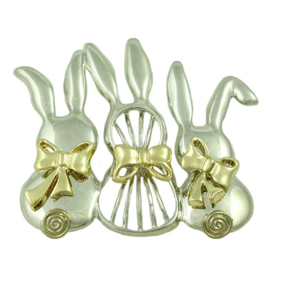 3 Silver Bunnies with Gold Bows and Gold Curled Tails Brooch Pin - Lilylin Designs