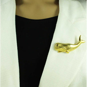 Model with Gold-plated Large Happy Whale Brooch Pin - Lilylin Designs