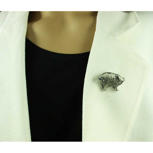 Model with Pewter Pig with Filigree Body Brooch Pin - Lilylin Designs