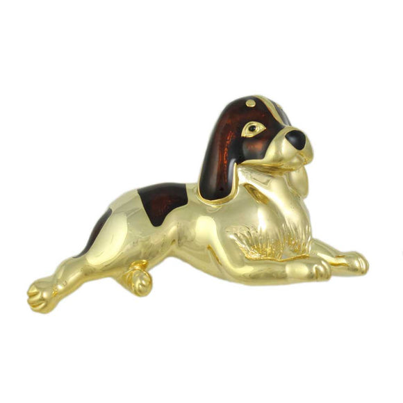 Gold and Brown Enamel Large St. Bernard Dog Brooch Pin - Lilylin Designs