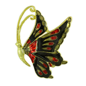 Black and Red Enamel Butterfly Pin - Lilylin Designs