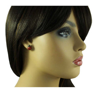 Model with Lucky Little Red and Black Enamel Ladybug Pierced or Clip Earring - Lilylin Designs
