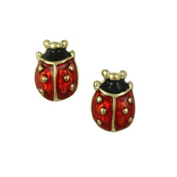 Lucky Little Red and Black Enamel Ladybug Pierced or Clip Earring - Lilylin Designs